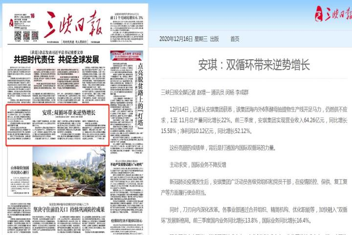 三峡日报:安琪 双循环带来逆势增长